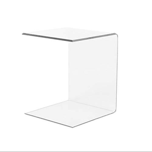 LuceSolida - 'Tower' Tavolino in Plexiglass Lato Divano Forma di C Trasparente da Salotto 40 cm (40 x 40 x h 70 cm)