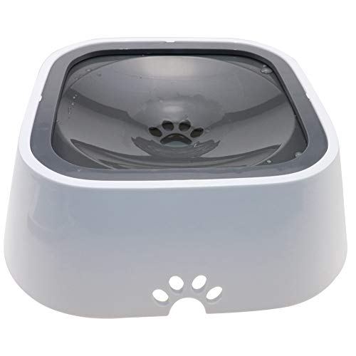 TagME Dog Dripless Water Bowl, Anti-Splash Pet Bowls, FDA Grade Material, Vehicle Carried Travel Water Bowls, Healthy & Dishwasher Safe,35 OZ Grey