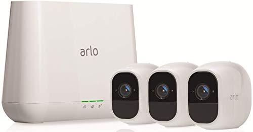31zfEkTAYGL Bon plan Arlo Pro 2 | Caméra de Surveillance WiFi sans Fils - Pack de 3, Batteries Rechargeables & Accessoire Arlo Bras de F...