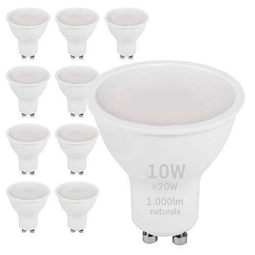 10x Lampadine LED GU10 10W Professionali Garanzia 5 anni Satinata Antiabbaglio (1000 lumen equivalenti a 70W) - Forma: Faretto - Luce Bianco Naturale 4000K - Fascio Luminoso 110