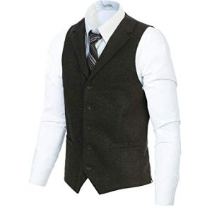 Gioberti Men's 5 Button Tailored Collar Slim Fit Formal Herringbone Tweed Suit Vest