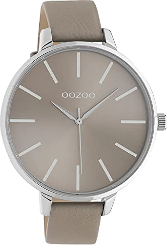 Oozoo Damenuhr mit Lederband 48 MM Silberfarben/Taupe C10712