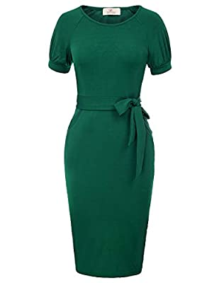 Round neck, short sleeve, Puff sleeves, knee-length, with belt, high stretchy, side pockets Vintage pencil dress Simple but Well Tailored, Removeable Belt Easy to Show Your Curve and Make You Elegant Women's Casual Wear to Work Office Career Sheath D...