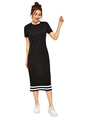 Cotton Fabric, Some stretch, Comfy and Light weight Features: Contrast Striped, Short Sleeve, Round Neck, Straight Casual and Loose Striped T shirt Dress Great for daily wear, going out, school ,vacation NOTICE: Please refer to the size measurement w...