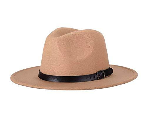 QUUPY Cappello Fedora classico a tesa larga con fibbia per cintura in feltro Panama per donne e uomini (rosso), Unisex - Adulto, FBA-QUS15859KHAKI, cachi, 6 7/8-7 1/8