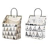 Yemiany 2 pièces sac de rangement en tissu de coton lin avec crochet, sac de...