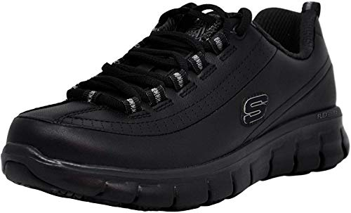 Skechers for Work Women's Sure Track Trickel Slip Resistant Work Shoe, Black, 9 M US