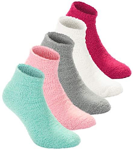 Brubaker 10 paia di 'Bedsocks, calzini da notte, calze da letto per donna nei colori pastello taglia unica (EU 36-41)
