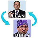 Michael Scott Prison Mike Dishwasher Magnet Clean Dirty Sign Sticker Strongest Magnet Double Sided Flip with Metal Magnetic Plate Universal Kitchen Dish Washer Reversible Indicator