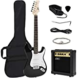 Best Choice Products 39in Full Size Beginner Electric Guitar Starter Kit w/Case, Strap, 10W Amp, Tremolo Bar - Black
