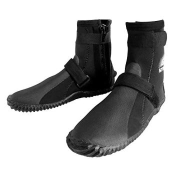 BPS 3mm Neoprene Water Boots - Dive Boots with Rubberized Antislip Sole for Swim Fins Watersports Rafting SUP Kayaking Surfing - High Cut Dive Shoes Slip on-and-Off Design (Size 8)