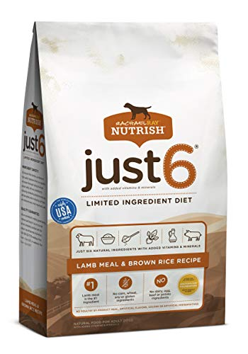 Rachael Ray Nutrish Just 6 Premium Natural Dry Dog Food, Limited Ingredient Diet Lamb Meal & Brown Rice Recipe, 14 Pounds