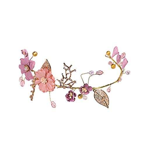 Lurrose Flor Nupcial Diadema Tela Floral Pelo Vid Dulce Oro Boda Accesorios para el Cabello para Mujeres Niñas