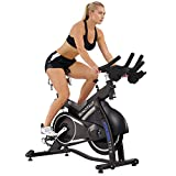 Sunny Health & Fitness ASUNA 7150 Minotaur Exercise Bike Magnetic Belt Drive Commercial Indoor Cycling Bike with 330 LB Max Weight, SPD Style / Cage Pedals and Aluminum Frame, Black