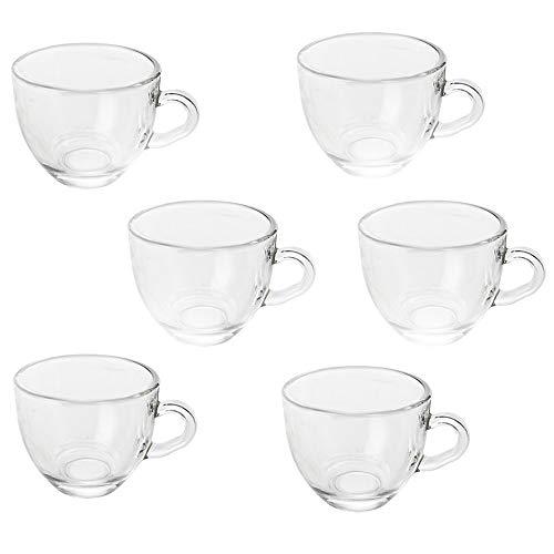 Vetrineinrete® Set 6 Tazzine da caffè in Vetro Tazza con Manico per Espresso Tazze Colazione