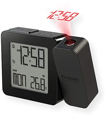 Oregon Scientific RM338PA_BK Model RM338 PROJI Projection Atomic Alarm Clock, Indoor Temperature, Calendar Alarm, Snooze Functions, Dual Alarm, Black