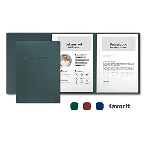 5 Stück 3-teilige Bewerbungsmappen favorit \'Forest Green\' mit 2 Klemmschienen - Premium-Karton mit eindrucksvoller Relief-Prägung BEWERBUNG - Produkt-Design von von Mario Lemani