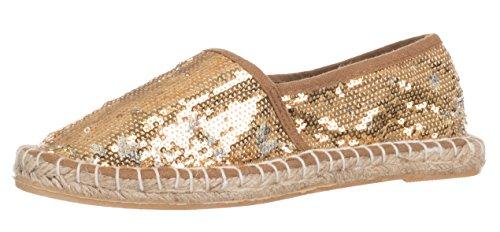 Brandsseller - Zapatillas de mujer con lentejuelas, color plateado, dorado y negro, color Dorado, talla 36 EU