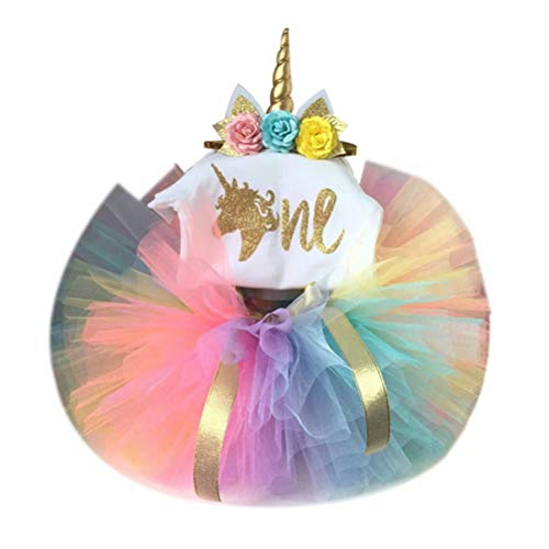 Frercocialo Niñas Ropas Unicornio Verano,Conjunto de Vestido Impreso Unicornio de Camiseta + Falda Tutú Arco Iris + Diedema Unicornio Flores Vestido Princesa Primer Cumpleaños Boda Fiesta 0-2 Años