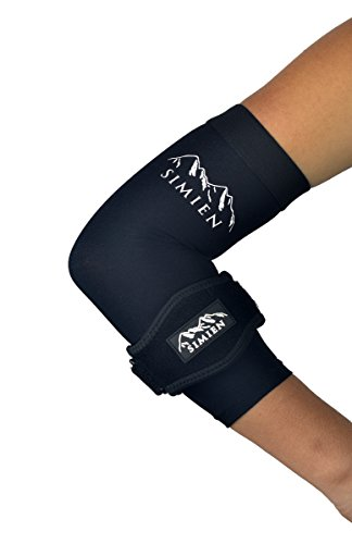 SIMIEN Elbow Brace + Sleeve Compression Combo (1-count each) - MEDIUM - Reduces Inflammation for Tennis Elbow, Golfer's Elbow, Tendonitis Pain - 88% Copper Sleeve - Results or