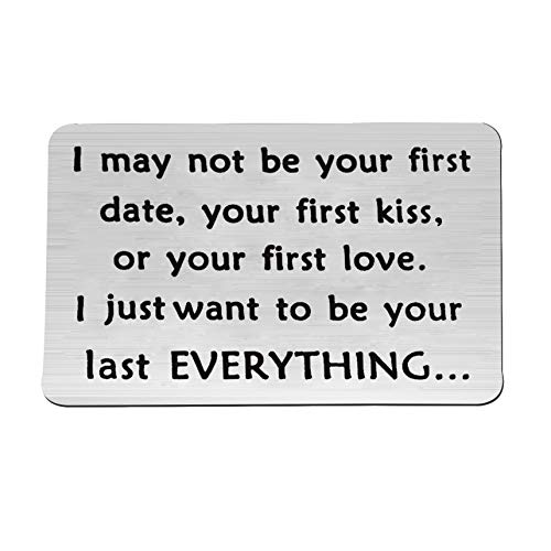 FEELMEM I May Not Be Your First Date Keychain Couples Love Lettering Keyring Valentines Day Birthday for Him or Her (Wallet Card)