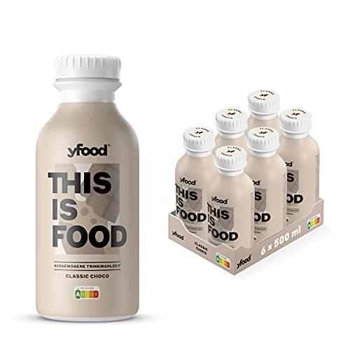 YFood Schokolade   Laktose- und glutenfreier Nahrungsersatz   33g Protein, 26 Vitamine und Mineralstoffe   Leckere Astronautennahrung - 25% des Kalorienbedarfs   Trinkmahlzeit, 6 x 500 ml (1 kcal/ml)