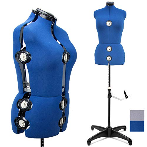 Blue 13 Dials Female Fabric Adjustable Mannequin Dress Form for Sewing, Mannequin Body Torso with Tri-Pod Stand, Up to 70' Shoulder Height (Medium)