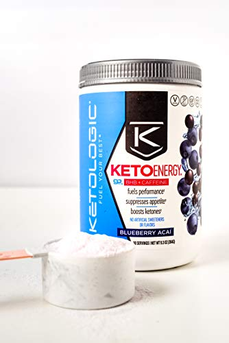 KetoLogic BHB Exogenous Ketones Powder with Caffeine (30 Servings) - Keto Pre-Workout, Boosts Ketosis, Energy & Focus - Support Keto Diet with Beta-Hydroxybutyrate Keto BHB Salts - Blueberry Acai 5