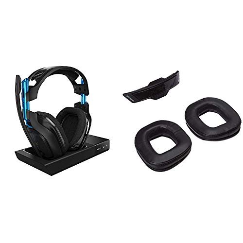ASTRO Gaming - A50 Wireless Dolby Gaming Headset - Black/Blue +  A50 Noise-Isolating Mod Kit - PlayStation 4 + PC