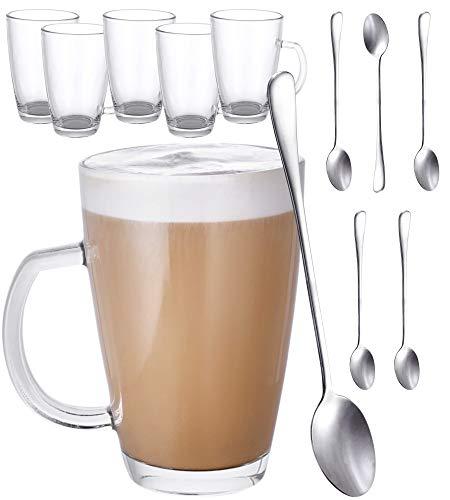 Set di 6 Tazze di Vetro per Latte Macchiato con Manico - Con 6 Cucchiai Lunghi - 300ml - Mantengono il Caffe Caldo