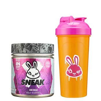 SNEAK   Purple Storm Edition   In-Game Focus Boost Energy Drink, Zero Sugar, Low-Calorie, Vegan   40 Servings & Neon Shaker Bundle