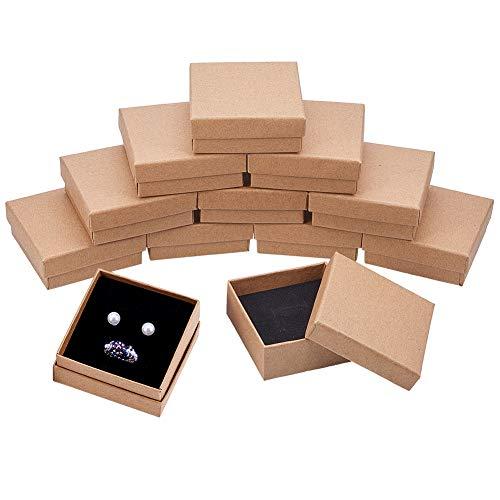 BENECREAT 16 Pack Scatole di Cartone Kraft per Collana 7x7x3cm Piccole Scatola Regalo Quadrata per...