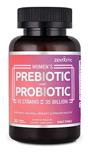 Zentastic Women's Probiotic & Prebiotic Supplement with Cranberry  35 Billion CFU  Vaginal, Immune & Digestive Health  10 Strains  Shelf Stable  30 Delayed Release Veggie Capsules