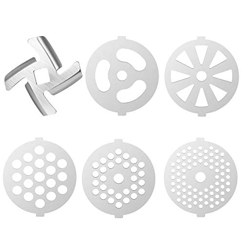 6 Piece Stainless Steel Meat Grinder Plate Discs/Grinding Blades for Stand Mixer and Meat Grinder Attachment,Applicable 7-word outlets(Center Hole 7mm)