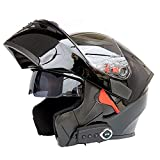 LuanYe Motorcycle Bluetooth Helmets Full Face Flip up Dual Visors Helmet Built-in Integrated Intercom Communication System (Black, M-22.44'-22.83')
