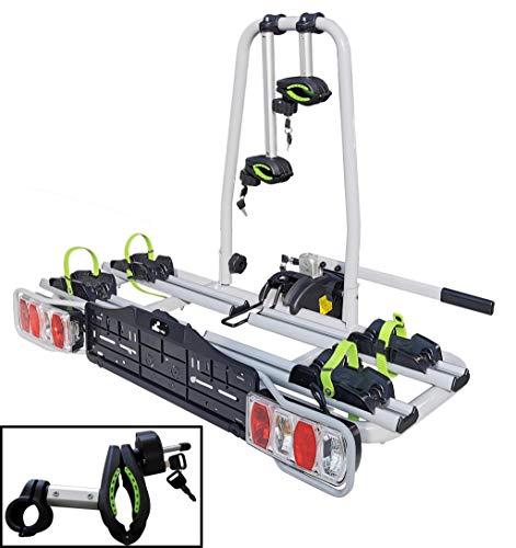 eBike VDP-TB011 - Portabici per bici elettrica con serratura per 2 ruote, pieghevole, per gancio di traino con chiusura rapida