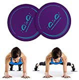 iQinQi Exercise Sliders, Dual Sided Core Sliders, Gliders Exercise Discs Use on Hardwood Floors, Workout Sliders Fitness Discs Abdominal & Total Body Gym Exercise Equipment for Home, Travel (Purple)