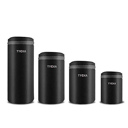Tycka Lens Pouch, Water Resistant Camera Lens Case Bag with Zipper for DSLR Camera Lens 4 Sizes, Black
