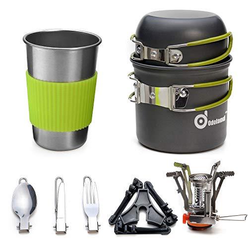 Odoland Multi-PCS Kit de Casseroles Camping Poêlé en Aluminium Durable et...