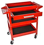 JEGS 3-Shelf Shop Cart | 200 LBS Total Capacity | Red Powder Coat Finish | Drawer Liners Included | Smooth Ball-Bearing Glides | 31.625 x 16.125 x 31.5 inches