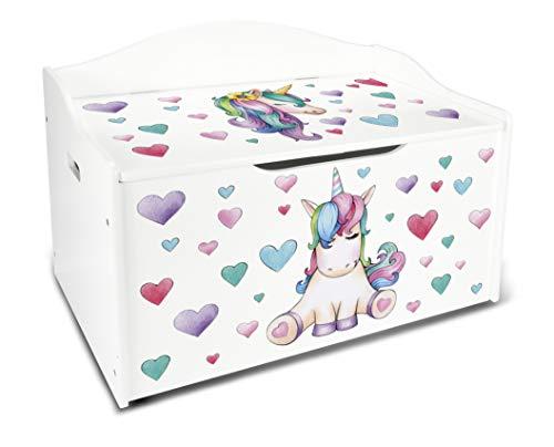 Leomark XL Groß Holz Kindertruhenbank Kinderbank Truhenbank Behälter für Spielzeug, Sitzbank mit Stauraum für Spielsachen Thema: Einhorn