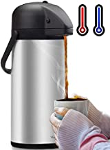 Airpot Coffee Dispenser with Pump – Insulated Stainless Steel Coffee Carafe (102..