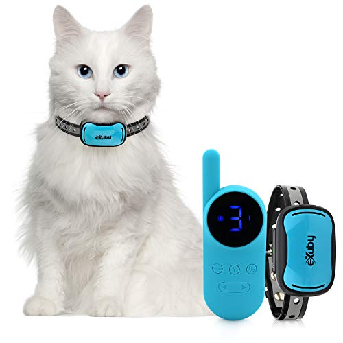 eXuby - Small Cat Shock Collar w/ Remote - Designed for Training Cats - Prevents Unwanted Meowing, Scratching & Roaming - Sound, Vibration & Shock Modes - 9 Intensity Levels - Waterproof - Teal/Pink