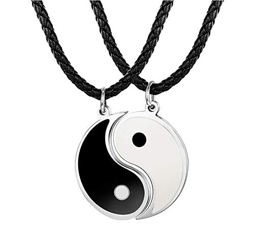 Besteel 3MM Collar Cuero Yin Yang para Hombre Mujer Colgante Taichi Acero Inoxidable Collar Pareja Cadena Cuero, 56+5CM