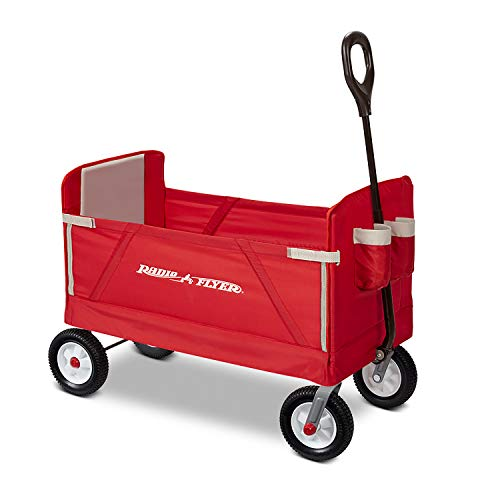 Radio Flyer All-Terrain 3-in-1 EZ Folding Wagon for kids and cargo, Red