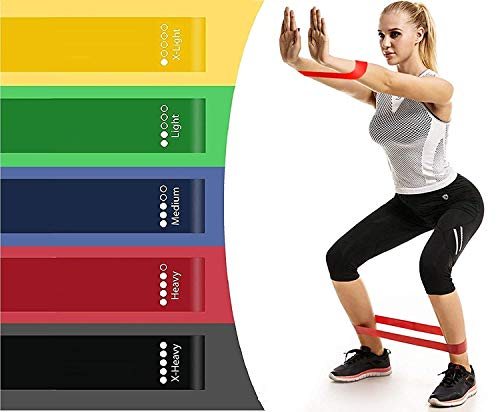 ZURATO Resistance Loop Bands, Resistance Exercise Bands for Home Fitness, Crossfit, Stretching, Strength Training, Physical Therapy, Natural Latex Workout Bands, Pilates Flexbands-5pcs