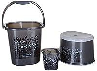 Material: Plastic Colour: Grey; Volume of Bucket: 18 L; Volume of Mug: 1.5 L Bucket Dimensions (L x W x H): 50.8 cm x 25.4 cm x 50.8 cm; Stool Dimensions (L x W x H): 38.1 cm x 25.4 cm x 38.1 cm; Mug Dimensions (L x W x H): 12.7 cm x 6.35 cm x 12.7 c...