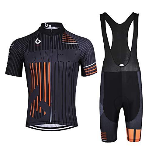 GWELL Herren Radtrikot Set Fahrrad Trikot Kurzarm + Radhose mit Sitzpolster Fahrradbekleidung MTB Sportanzug Orange (Set mit schwarzer Trägerhose) XL