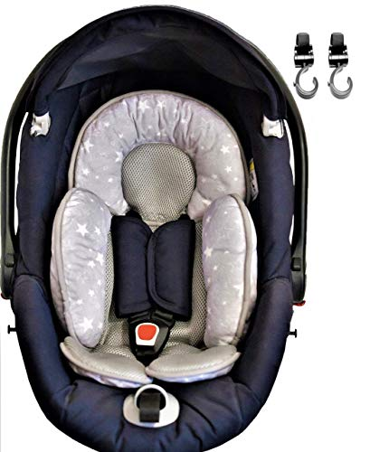 Universal Sitzverkleinerer Babyschale Kinderwagen Einlage Atmungsaktiv Anti-Schweiß und Leichtgewicht Neuheit 2019 Neugeborenen Frei Kinderbett 2 Haken Universal Kinderwagen Autositz Gepolstert