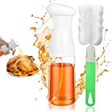 Olive Oil Sprayer Vegetable Spray Bottle for Cooking, Reusable Vinegar Oil Bottle Set with Brush Refillable Dispenser Food Grade Plastic Atomizer for Kitchen Baking Air Fryer BBQ Salad 7Oz/200ML White